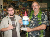 David and Alex with Travelocity gnome.