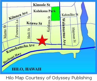 Map of downtown Hilo.